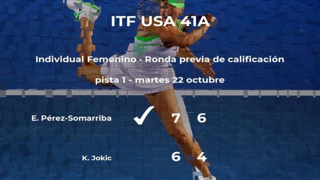 La tenista Estela Pérez-Somarriba consigue ganar en la ronda previa de calificación contra la tenista Katarina Jokic