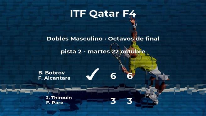 Los tenistas Bobrov y Alcantara ganaron a los tenistas Thirouin y Pare y estarán en los cuartos de final del torneo de Doha
