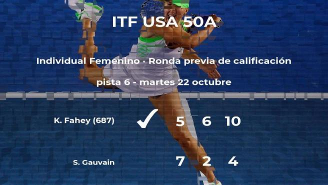Katharine Fahey consigue la plaza para la siguiente fase tras vencer en la ronda previa de calificación
