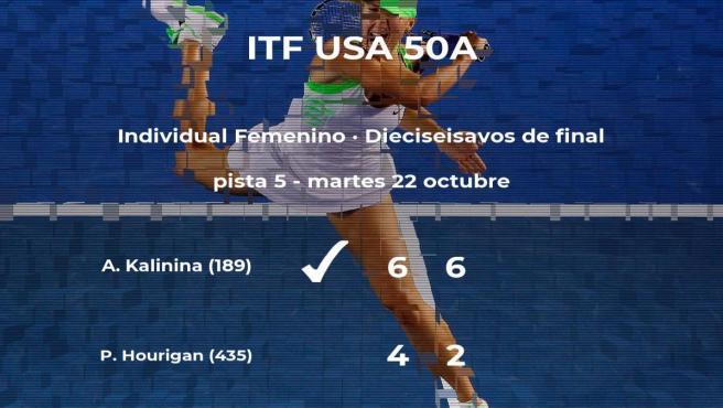 Anhelina Kalinina estará en los octavos de final del torneo ITF USA 50A