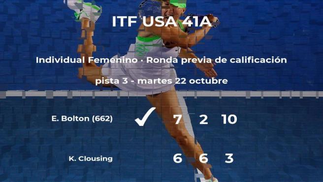 La tenista Elysia Bolton consigue la plaza para la siguiente fase tras ganar en la ronda previa de calificación
