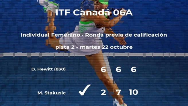 Marina Stakusic logra ganar en la ronda previa de calificación contra la tenista Dalayna Hewitt