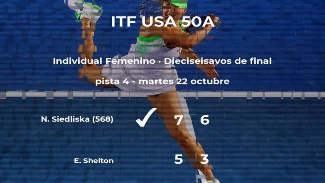 La tenista Natalia Siedliska logra clasificarse para los octavos de final a costa de Emma Shelton