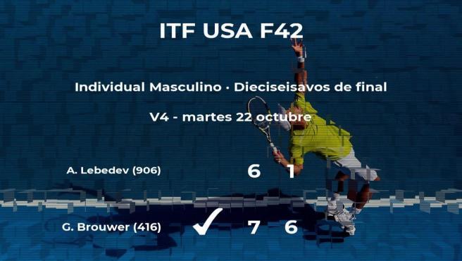 El tenista Gijs Brouwer vence en los dieciseisavos de final del torneo ITF USA F42