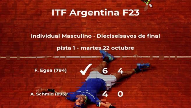 El tenista Franco Emanuel Egea le arrebata la plaza de los octavos de final al tenista Aaron Schmid