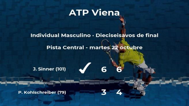 Jannik Sinner pasa a la próxima fase del torneo ATP 500 de Viena tras vencer en los dieciseisavos de final