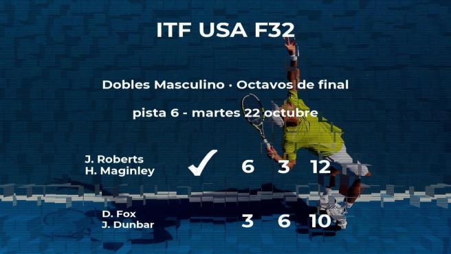 Los tenistas Roberts y Maginley pasan a la siguiente fase del torneo de Fayetteville tras vencer en los octavos de final