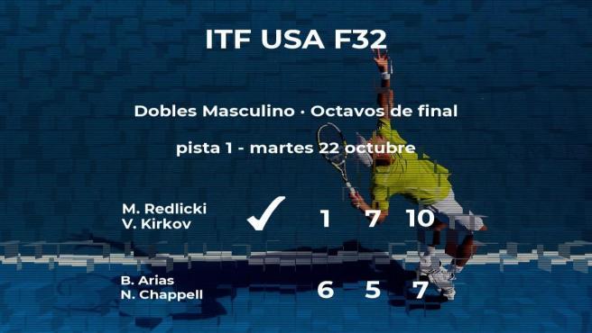 Redlicki y Kirkov pasan a la siguiente fase del torneo ITF USA F32 tras vencer en los octavos de final