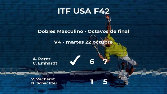Los tenistas Vacherot y Schachter se quedan fuera de los cuartos de final del torneo ITF USA F42