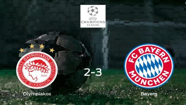 El Bayern de Múnich se lleva tres puntos a casa después de ganar 2-3 al Olympiakos Piraeus