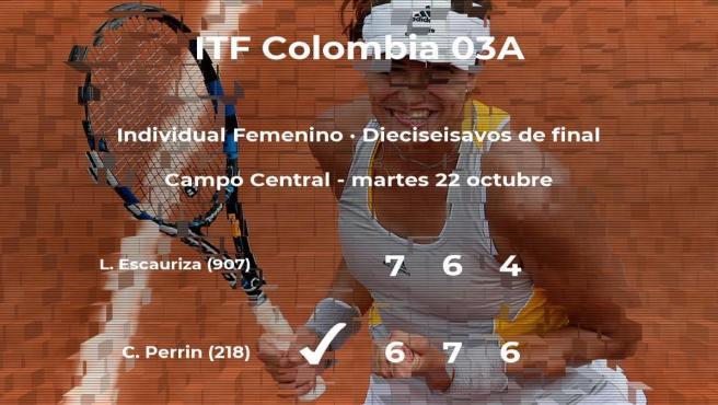 Conny Perrin gana en los dieciseisavos de final del torneo de Cúcuta