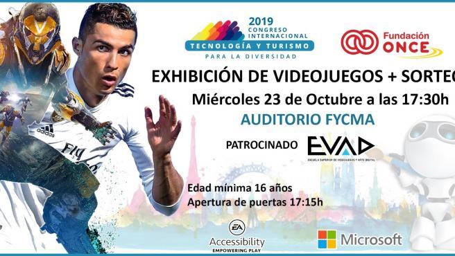 Cartel de exhibición de videojuegos inclusivos en el marco del Congreso de la Fundación ONCE