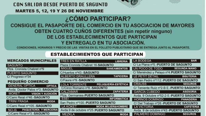 Cartel de 'Súbete al tren del comercio y conoce tu ciudad' del Ayuntamiento de Sagunt