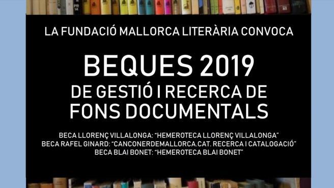 Cartel promocional de las Becas 2019 de la Fundación Mallorca Literaria.