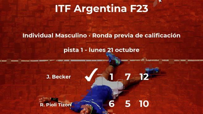 El tenista Juan Pablo Becker vence en la ronda previa de calificación del torneo de Junín