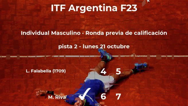 El tenista Matias Riva logra ganar en la ronda previa de calificación a costa de Lautaro Agustin Falabella