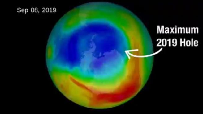 Imagen de la capa de ozono en sus niveles en septiembre de 2019