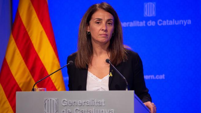 La consellera de la Presidencia y portavoz del Gobierno, Meritxell Budó interviene en rueda de prensa tras el Consell Executiu de la Generalitat, en Barcelona (España), a 22 de octubre de 2019.