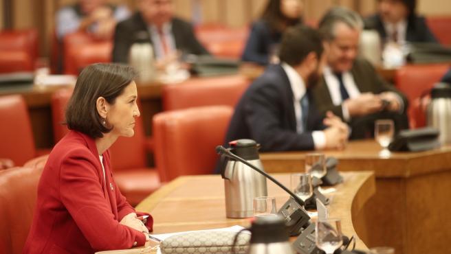 La ministra de Industria, Comercio y Turismo en funciones, Reyes Maroto, durante una reunión de la Diputación Permanente del Congreso, en Madrid (España), a 22 de octubre de 2019.