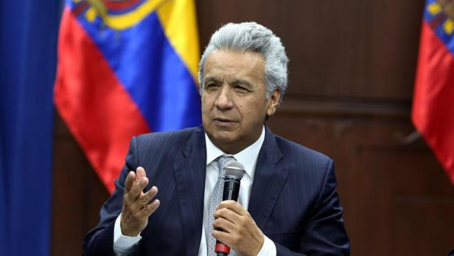 El presidente de Ecuador, Lenín Moreno, durante una reunión con dirigentes sindicales en Quito.
