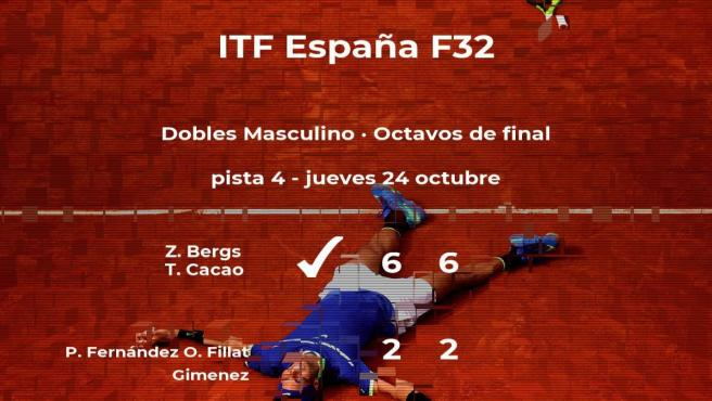 Los tenistas Fernández y Fillat Gimenez se despiden del torneo de Benicarló