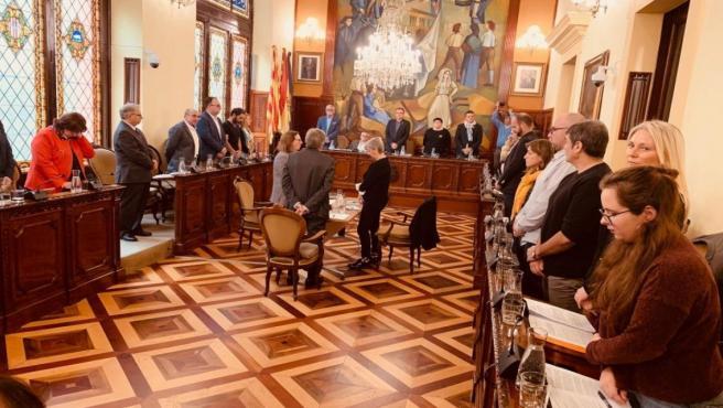 Minuto de silencio en la Diputación de Lleida