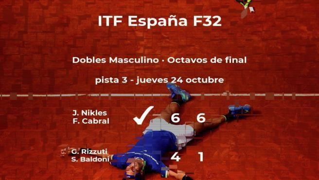Los tenistas Nikles y Cabral le arrebatan la plaza de los cuartos de final a Rizzuti y Baldoni
