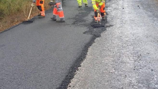 Obras de conservación en la carretera A-373