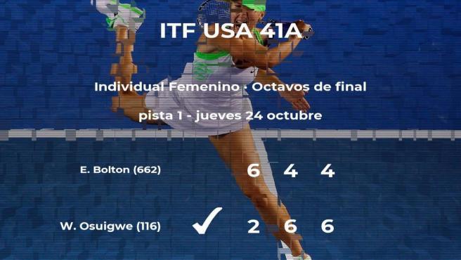 La tenista Whitney Osuigwe se hace con la plaza de los cuartos de final a expensas de la tenista Elysia Bolton