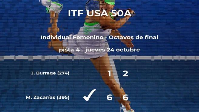 La tenista Marcela Zacarías logra clasificarse para los cuartos de final a costa de la tenista Jodie Anna Burrage