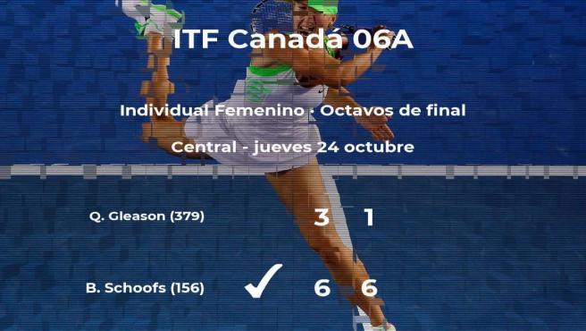 Bibiane Schoofs pasa a los cuartos de final del torneo de Saguenay