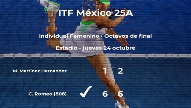 Caroline Romeo le quita la plaza de los cuartos de final a Maria Fernanda Martinez Hernandez