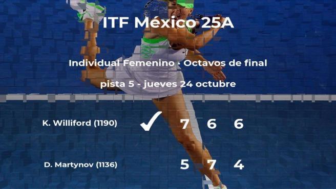 Kelly Williford estará en los cuartos de final del torneo de Metepec