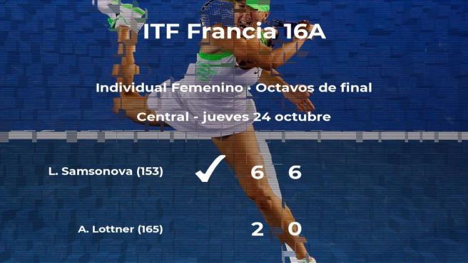 La tenista Ludmilla Samsonova consigue clasificarse para los cuartos de final a costa de la tenista Antonia Lottner