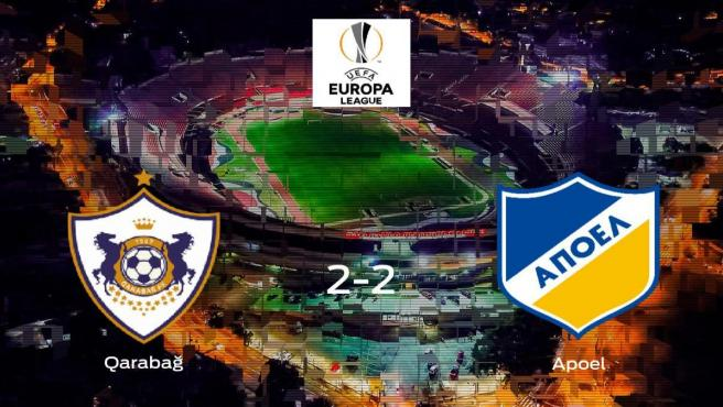 El Qarabag FK y el Apoel Nicosia suman un punto tras empatar a dos