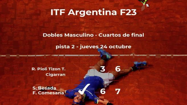Besada y Comesana ganan en los cuartos de final del torneo de Junín