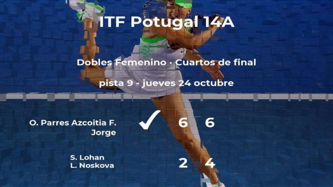 Las tenistas Parres Azcoitia y Jorge se hacen con la plaza de las semifinales a costa de Lohan y Noskova