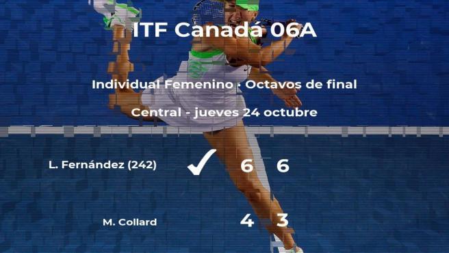 La tenista Leylah Annie Fernández logra clasificarse para los cuartos de final a costa de la tenista Melodie Collard