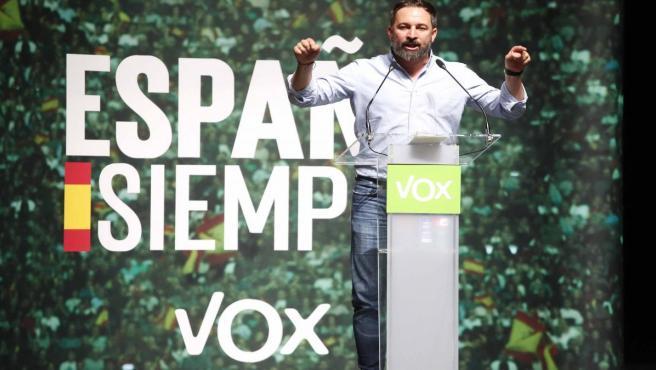Santiago Abascal, presidente de VOX en un mitin de Vox en Vigo (Galicia, España), el jueves 24 de octubre de 2019.