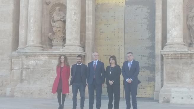 El ministro de Cultura en funciones, José Guirao, en el centro de la imagen junto al conseller Vicent Marzà y la directora general de Cultura y Patrimonio, Carmen Amoraga