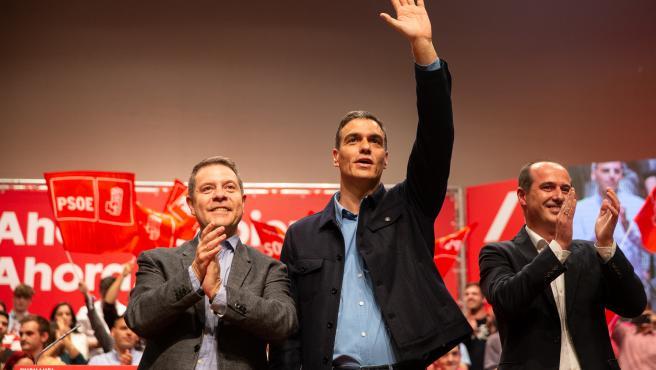 El presidente del Gobierno Pedro Sánchez protagoniza un mitin en Guadalajara junto al presidente de Castilla La Mancha. Emiliano García Page. En Guadalajara (Castilla La Mancha, España), jueves 24 de octubre de 2019.