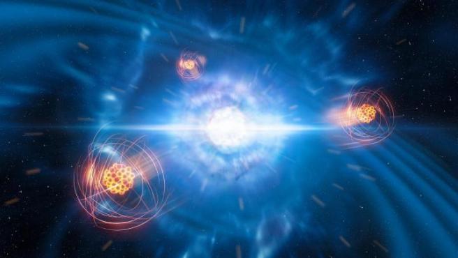 Representación artística de estroncio surgiendo de una fusión de estrellas de neutrones.