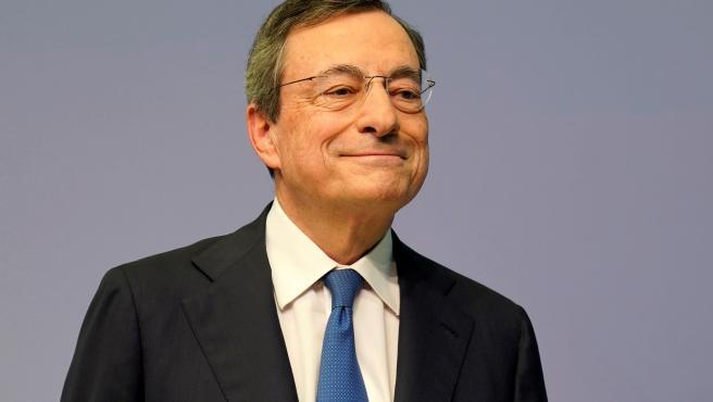Mario Draghi, presidente del Banco Central Europeo en la rueda de prensa del 24 de octubre en Frankfurt (Alemania).