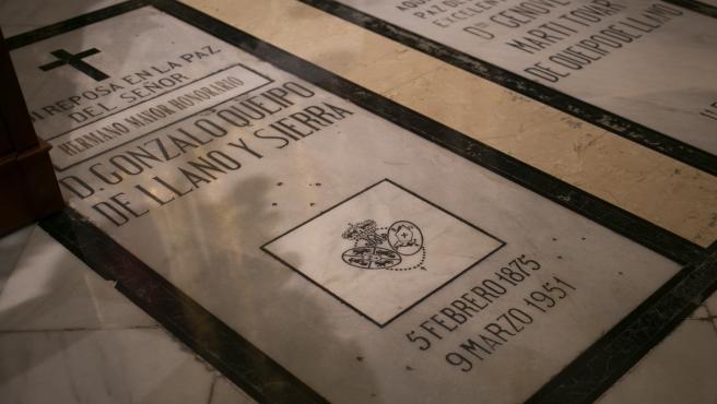 SEVILLA, 27.09.19 Imágenes de recirso de la tumba de Gonzalo Queipo de Llano y Sierra, enterrado en la basílica de la Macarena.