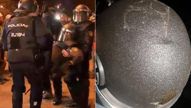 Imagen del policía antidisturios gravemente herido en Barcelona y el estado en el que ha quedado su casco.