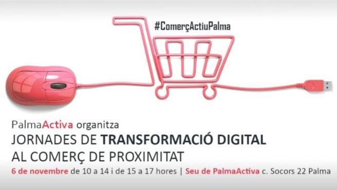 Cartel promocional de la jornada sobre transformación digital.