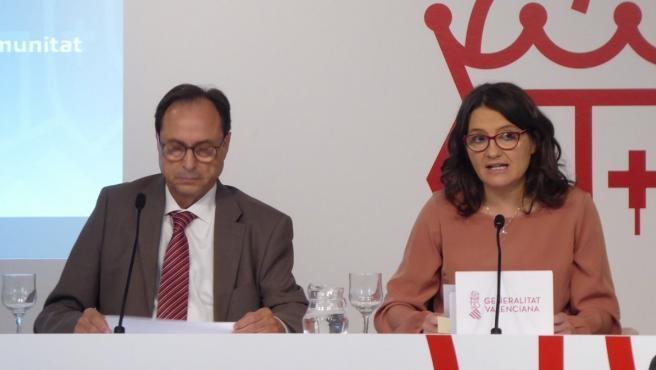 El conseller d'Hisenda, Vicent Soler, i la vicepresidenta, Mónica Oltra