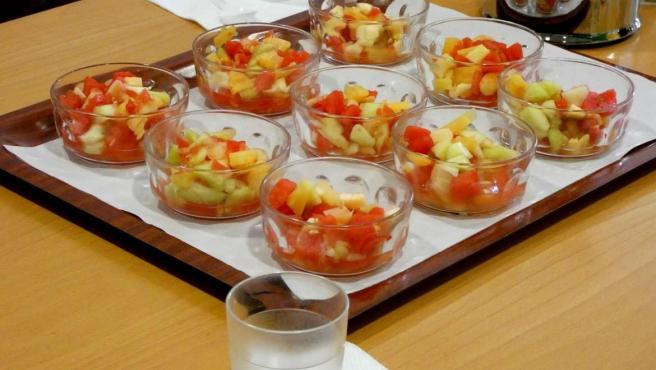 Fruta en un comedor escolar