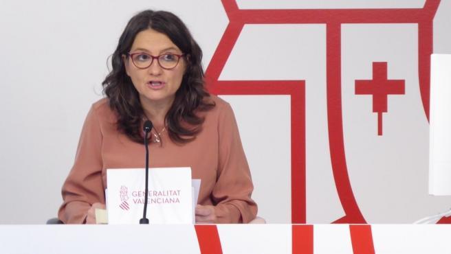 La portaveu del Consell, Mónica Oltra, en la roda de premsa després del ple setmanal