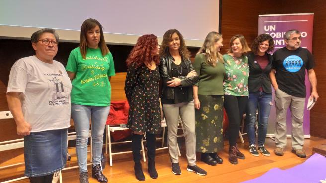 Acto político de Unidas Podemos en el Museo Arqueológico de Asturias, en Oviedo, con la presencia de las diputadas y candidatas Victoria Rosell y Sofía Castañón.